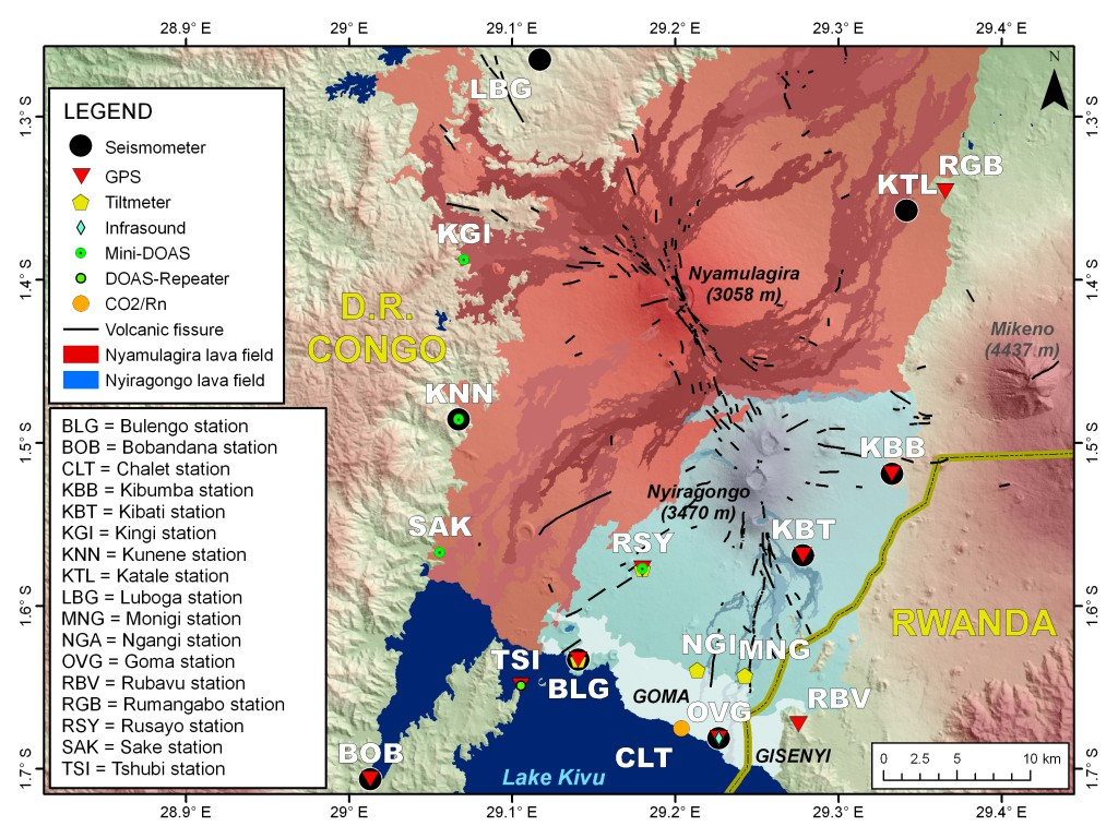 Ground-based monitoring networks managed by the Goma Volcano Observatory